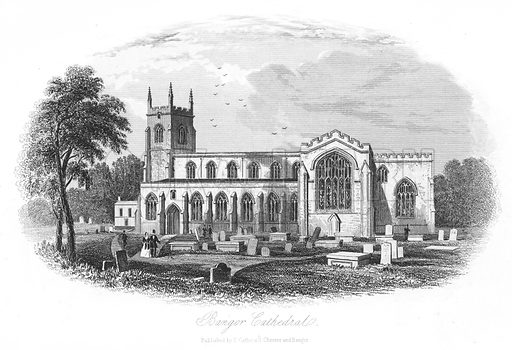 Bangor Cathedral. Illustration for Views in North Wales (T Catherall, c 1850).