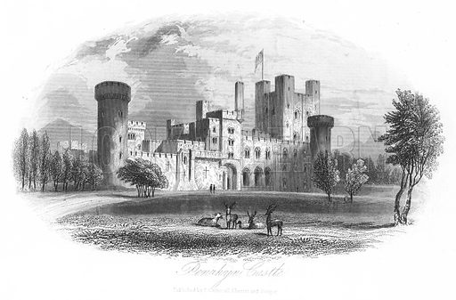 Penrhyn Castle. Illustration for Views in North Wales (T Catherall, c 1850).