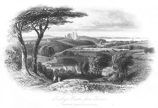 Penrhyn Castle, from Penlan. Illustration for Views in North Wales (T Catherall, c 1850).