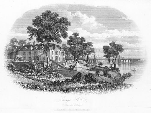 George Hotel, Menai Bridge. Illustration for Views in North Wales (T Catherall, c 1850).