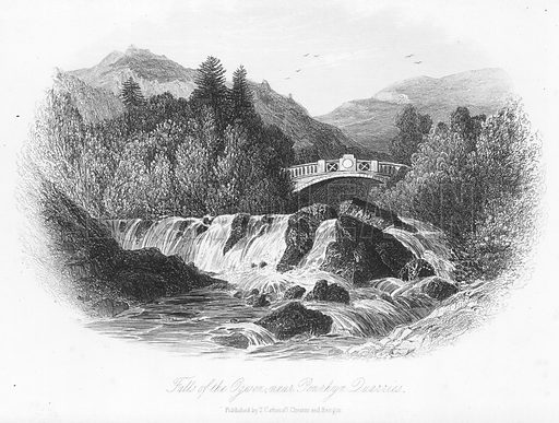 Falls of the Ogwen, near Penrhyn Quarries. Illustration for Views in North Wales (T Catherall, c 1850).