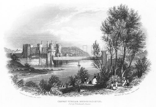 Conway Tubular Bridge and Castle. Illustration for Views in North Wales (T Catherall, c 1850).