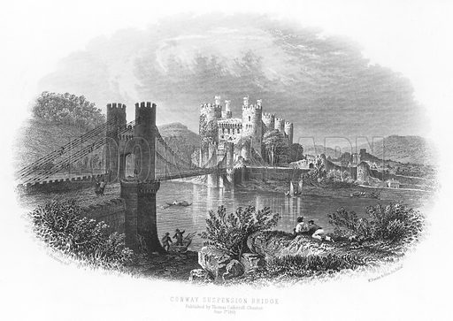 Conway Suspension Bridge. Illustration for Views in North Wales (T Catherall, c 1850).