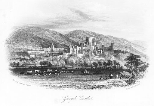 Gwrych Castle. Illustration for Views in North Wales (T Catherall, c 1850).