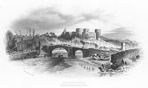 Rhuddlan Castle. Illustration for Views in North Wales (T Catherall, c 1850).