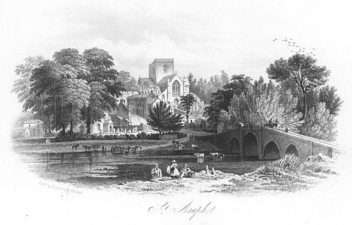 St Asaph. Illustration for Views in North Wales (T Catherall, c 1850).