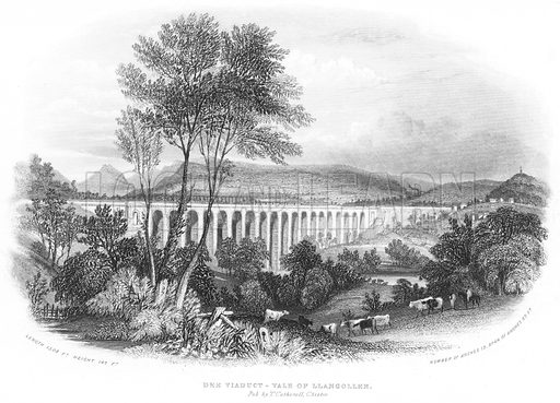 Dee Viaduct-Vale of Llangollen. Illustration for Views in North Wales (T Catherall, c 1850).