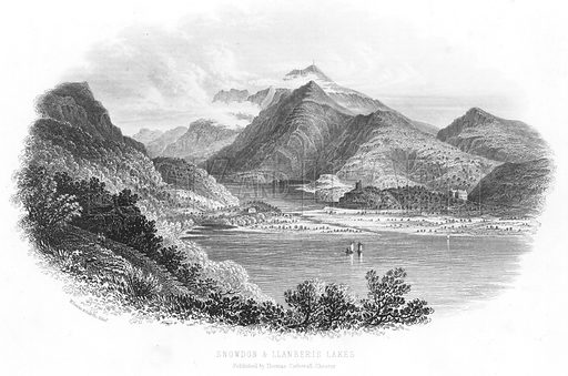 Snowdon and Llanberis Lakes. Illustration for Views in North Wales (T Catherall, c 1850).