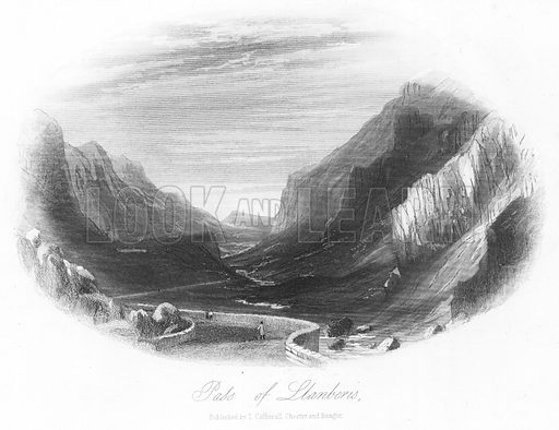 Pass of Llanberis. Illustration for Views in North Wales (T Catherall, c 1850).