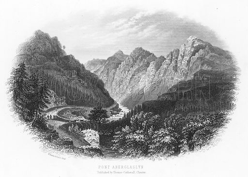 Pont Aberglaslyn. Illustration for Views in North Wales (T Catherall, c 1850).