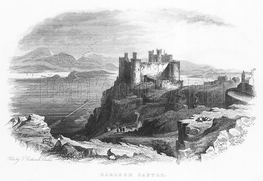 Harlech Castle. Illustration for Views in North Wales (T Catherall, c 1850).