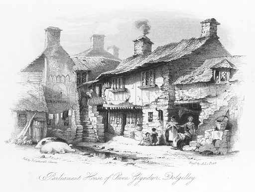 Parliament House of Owen Glyndwr, Dolgelley. Illustration for Views in North Wales (T Catherall, c 1850).