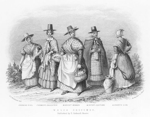 Welsh Costumes. Illustration for Views in North Wales (T Catherall, c 1850).