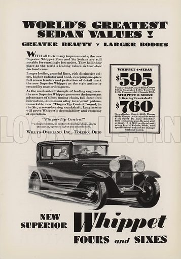 New Superior Whippet Fours and Sixes. American car advertisement. For editorial use only.