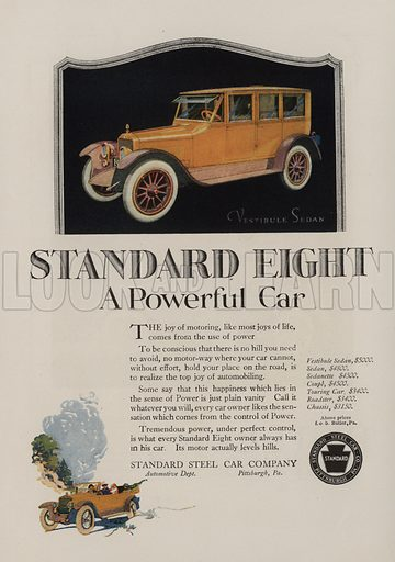 Standard Eight. American car advertisement. For editorial use only.