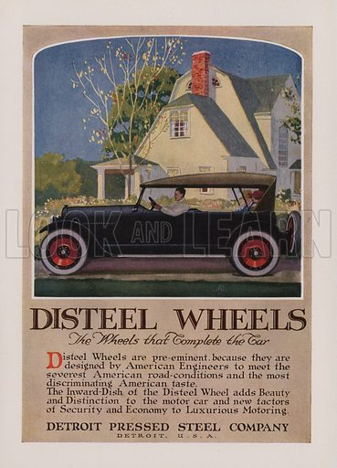 Disteel Wheels. American car advertisement. For editorial use only.