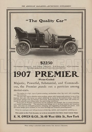 1907 Premier. American car advertisement. For editorial use only.