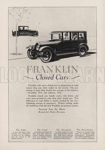 Franklin Closed Cars. American car advertisement. For editorial use only.