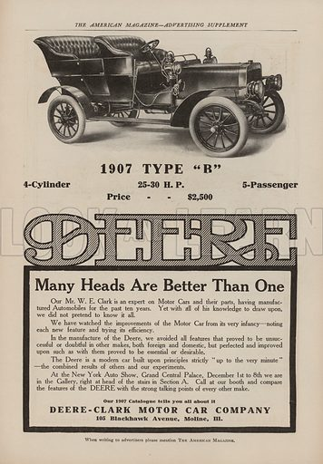 """1907 Type """"B"""". American car advertisement. For editorial use only."""