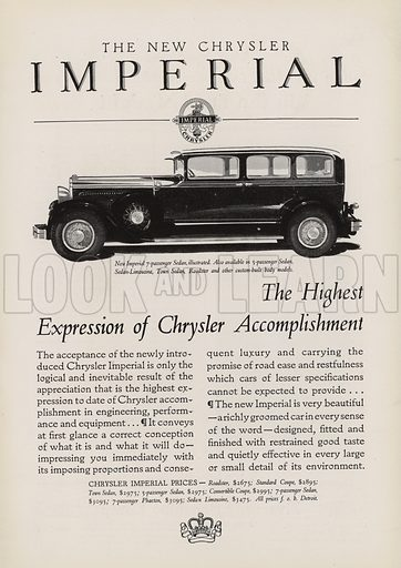 The New Chrysler Imperial. American car advertisement. For editorial use only.