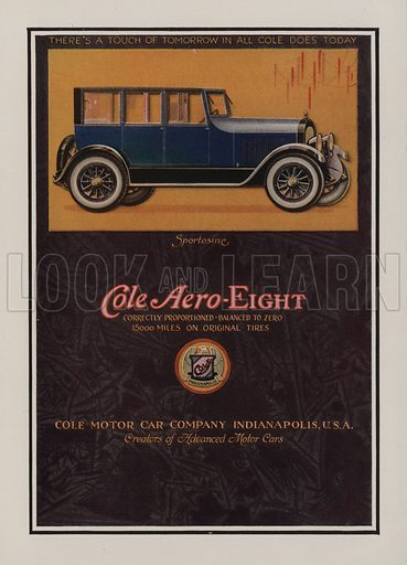 Cole Aero-Eight. American car advertisement. For editorial use only.