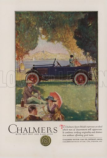 Chalmers. American car advertisement. For editorial use only.