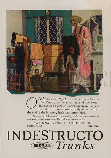 Indestructo Trunks. American car advertisement. For editorial use only.