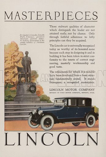 Lincoln. American car advertisement. For editorial use only.