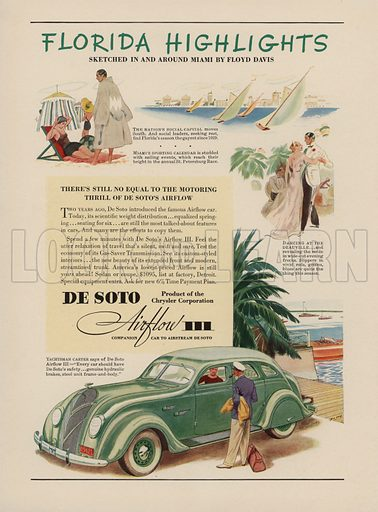 De Soto Airflow III. American car advertisement. For editorial use only.