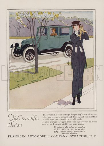 The Franklin Sedan. American car advertisement. For editorial use only.
