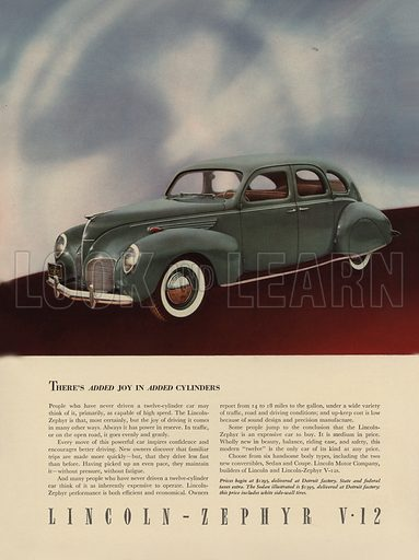 Lincoln-Zephyr V-12. American car advertisement. For editorial use only.