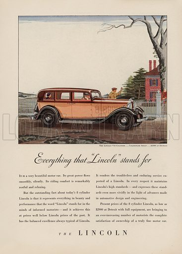 The Lincoln. American car advertisement. For editorial use only.