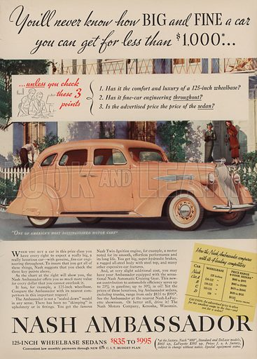 Nash Ambassador. American car advertisement. For editorial use only.