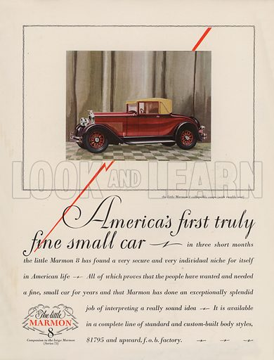 The little Marmon 8. American car advertisement. For editorial use only.