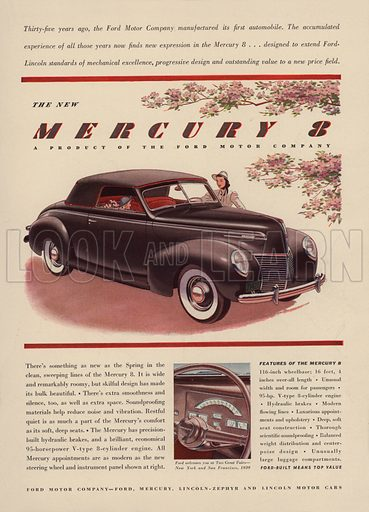 The New Mercury 8. American car advertisement. For editorial use only.