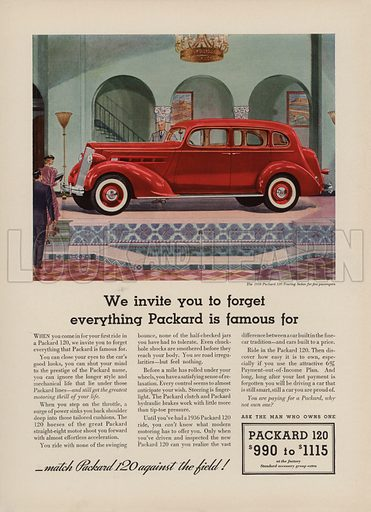 Packard 120. American car advertisement. For editorial use only.