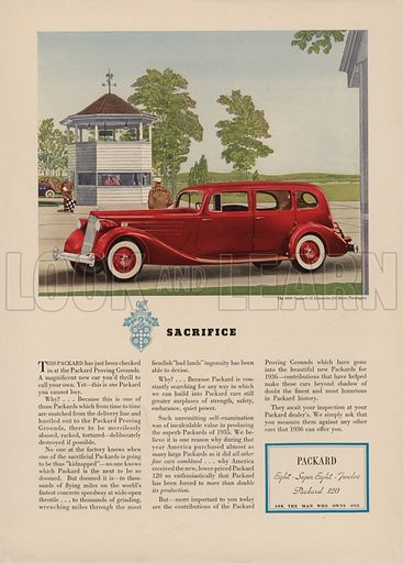 Packard. American car advertisement. For editorial use only.