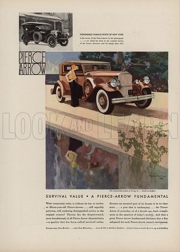 Pierce Arrow. American car advertisement. For editorial use only.