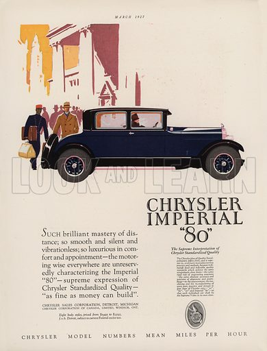 """Chrysler Imperial """"80"""". American car advertisement. For editorial use only."""