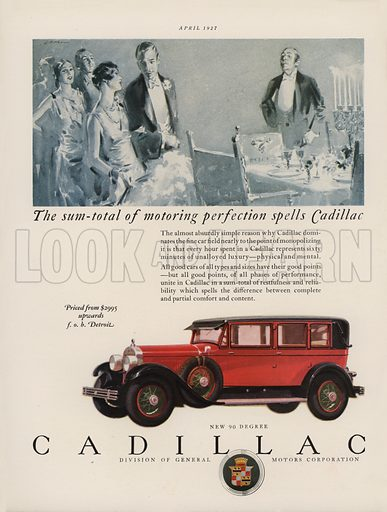 Cadillac. American car advertisement. For editorial use only.