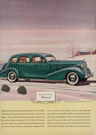 The New Cadillac Fleetwood. American car advertisement. For editorial use only.