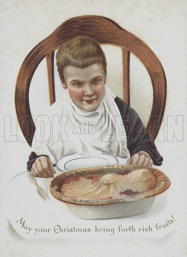 Boy about to dig into a large fruit pie.  Advertising card, late 19th century.