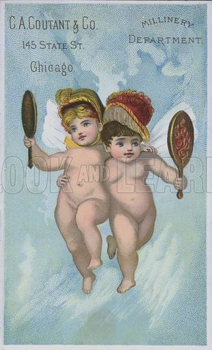 Pair of angels, wearing bonnets, admiring themselves in mirrors.  Advertising card for G A Coutant, Chicago, late 19th century.