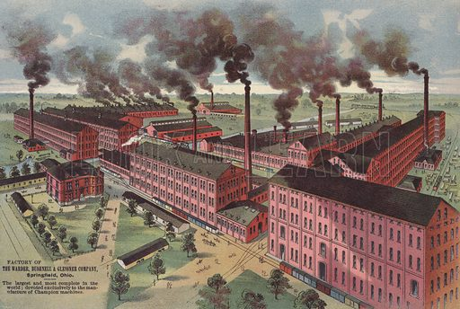 Factory of the Warder, Bushnell & Glessner Company, manufacturers of Champion farm machinery, Springfield, Ohio, USA.