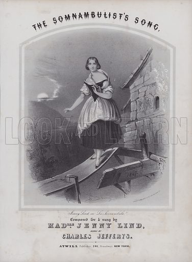The Somnabulist's Song, composed for and sung by Jenny Lind - La Sonnambula.  Sheet music cover.