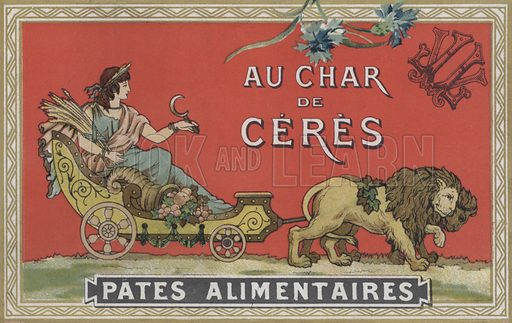 Ceres in a cart being pulled by lions.  Advertising card, late 19th century.