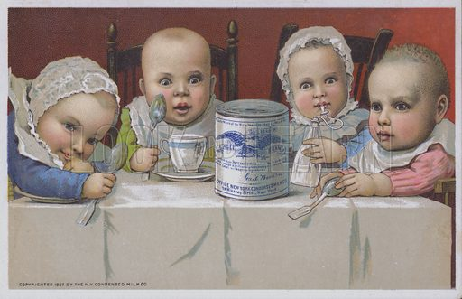 Group of four babies entranced by the prospect of feeding on condensed milk.  Advertising card from the NY Condensed Milk Co.