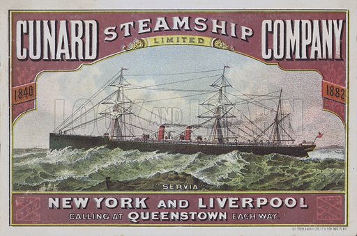 Cunard Steamship Company.  Advertising item, late 19th century.