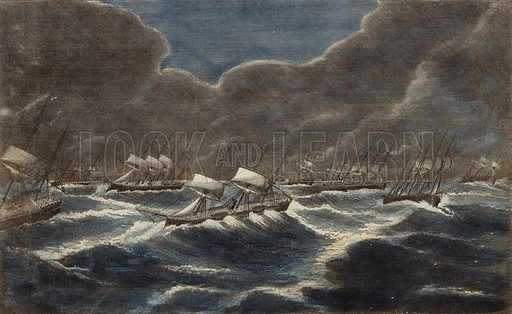 The British fleet in a gale, off Cape Finisterre, on the night of 6 September 1870.