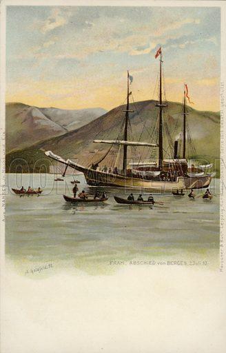 Die Fram, abschied von Bergen, 2 July 1893.  Signed A Goldfeld, 1898.